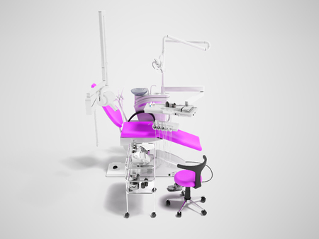 Modern semi-automatic dental chair light purple with equipment for dentistry and dental chair 3d rendering on gray background with shadow