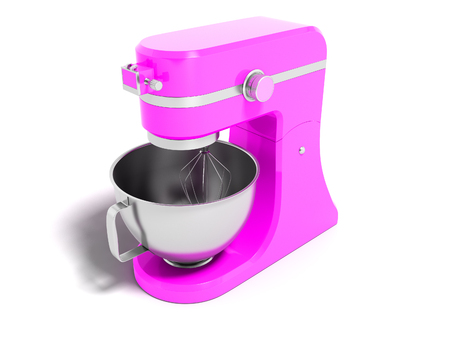 Modern multifunctional electric food processor pink with a capacity for beating eggs 3d rendering on a white background with shadow