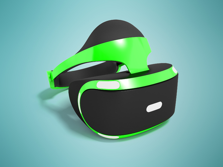 Modern virtual reality glasses for gaming and watching movies green front 3d rendering on blue background with shadow