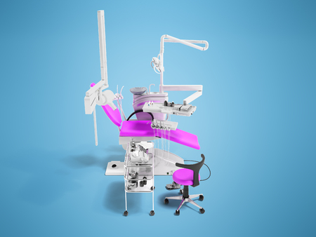 Modern semi-automatic dental chair light purple with equipment for dentistry and dental chair 3d rendering on blue background with shadow Stock Photo
