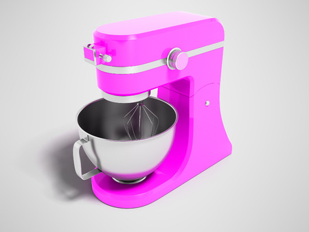 Modern multifunctional electric food processor pink with a capacity for beating eggs 3d rendering on gray background with shadow