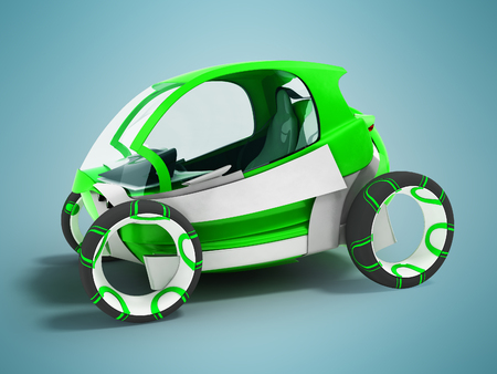 Modern electric car mobiles hatchback dvuesny green for travels around the city 3d render on blue background with shadow