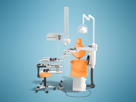 Modern semi automatic dental chair orange white with light equipment for dental and dental chair treatment 3D render on blue background with shadow Stock Photo