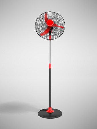 Modern fan on leg red in metal grid black 3d render on gray background with shadow