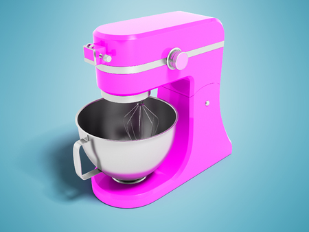 Modern multifunctional electric food processor pink with a capacity for beating eggs 3d rendering on blue background with shadow Stock Photo