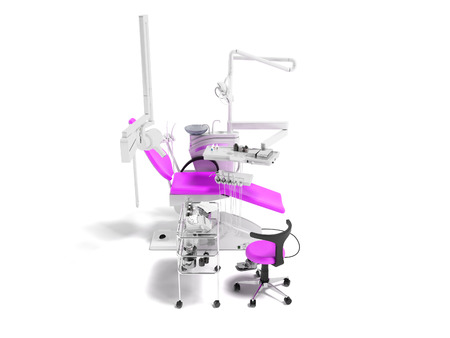 Modern semi-automatic dental chair light purple with equipment for dentistry and dental chair 3d rendering on white background with shadow Stock Photo