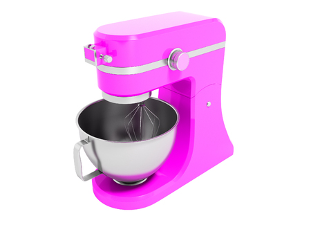 Modern multifunctional electric food processor pink with a capacity for beating eggs 3d rendering on white background no shadow