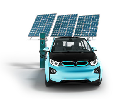 Modern concept of charging solar panels with electric car for city front 3d rendering on white background with shadow Stock Photo