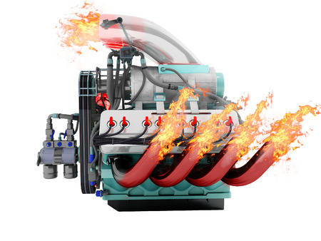 Modern powerful internal combustion engine with flame emissions side view 3d render on white background no shadow Stock Photo