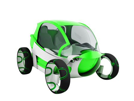 Modern electric car for city for green airport with white insets perspective on 3d render on white background no shadow