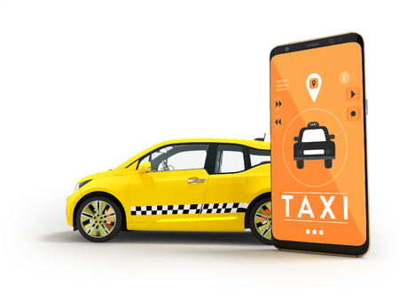 Modern concept of taxi calling an electric car with a smartphone via a mobile app orange 3d render on white background with shadow