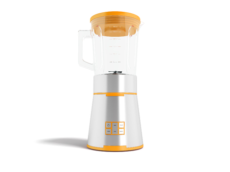 Modern electric blender with glass metal cup with orange inserts with multifunction buttons for control 3d rendering on white background with shadow