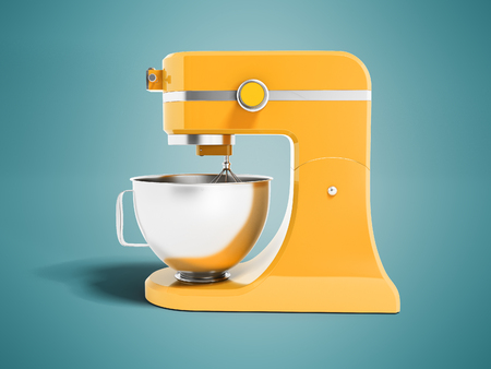 Modern multifunctional mixer for kitchen yellow with metal bowl 3d rendering on blue background with shadow