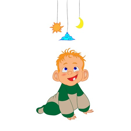 Vector illustration of a baby crawling and playing with toys Illustration