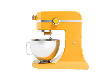 Modern multifunctional mixer for kitchen yellow with metal bowl 3d rendering on white background no shadow Stock Photo