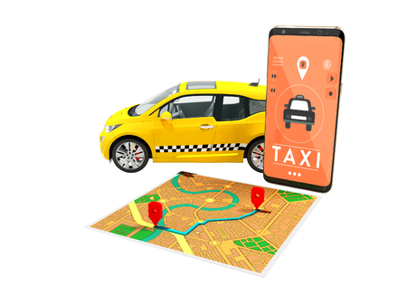 Taxi electric yellow with a call on the smartphone with a map route map 3d render on white background no shadow