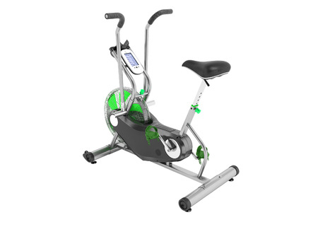 Exercise bike green metallic with green insets perspective 3d render on white background no shadow
