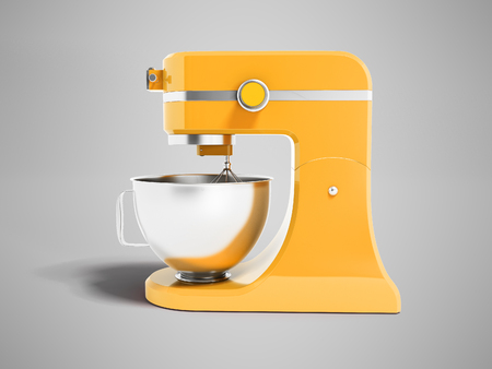 Modern multifunctional mixer for kitchen yellow with metal bowl 3d rendering on gray background with shadow