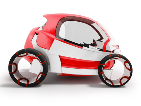 Modern electric car for travel at airport red 3d render on white background with shadow