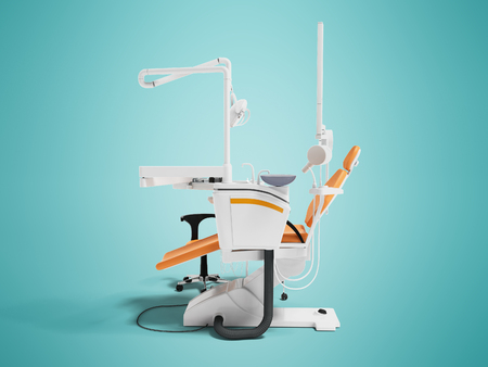 Dental chair with lighting from the bedside tables with an armchair for white work with orange insets 3D render on blue background with shadow Stock Photo