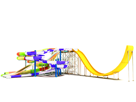 Water rides with straight bitter yellow and roller coaster with spring on the right 3d render on white background with shadow
