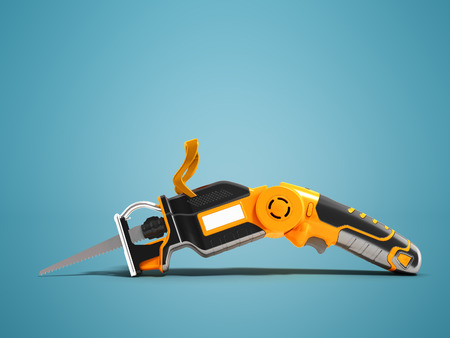 Electric hacksaw on the battery with different positions of the handle black with orange insets 3d render on blue background with shadow Stock Photo