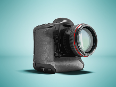 Modern professional camera for professional shooting with a black grasping black 3d rendering on blue background with shadow Stock Photo