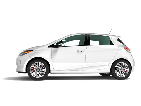 Modern electric car hatchback for travels for a young family white on the left 3d render on a white background with a shadow