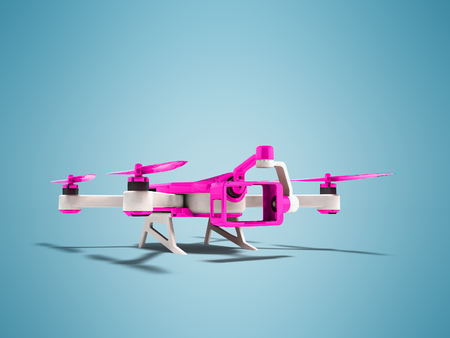 Modern drone quadrocopter with inset of futuristic camera purple shell with white insets 3D render on blue background with shadow Stock Photo