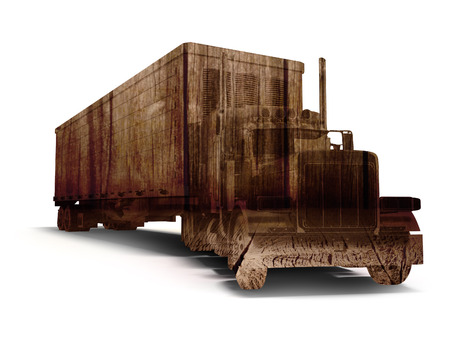 Truck truck concept with wood texture 3d rendering on white background with shadow