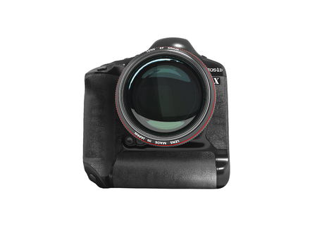 Modern professional camera for professional shooting in nature black with red strip 3d render on white background no shadow