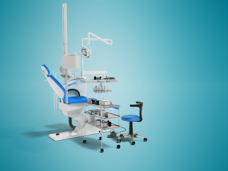 Modern dental chair with lighting with tools for drilling white with blue inserts and with tools and an armchair for the dentist on the right 3d render on blue background with shadow