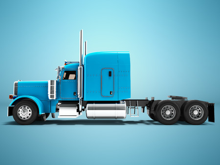 Modern truck tractor for cargo transportation three axle without trailer blue side view 3d render on blue background with shadow Stock Photo