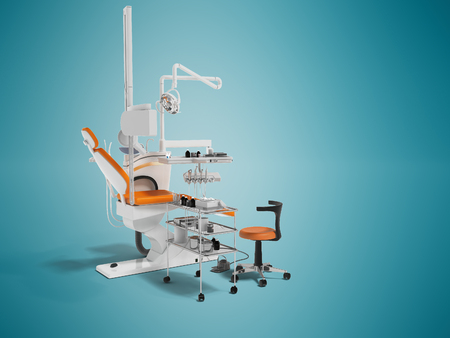 Modern dental chair with lighting with tools for drilling white with orange inserts and with tools and an armchair for the dentist on the right 3d render on blue background with shadow