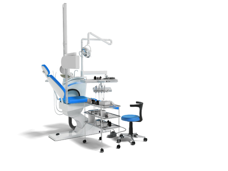 Modern dental chair with lighting with tools for drilling white with blue inserts and with tools and an armchair for the dentist on the right 3d render on white background with shadow