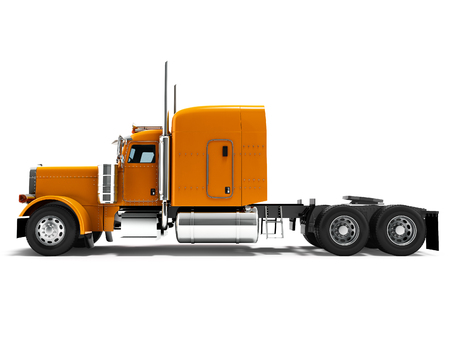 Modern truck tractor for cargo three axle without trailer orange side view 3d render on white background with shadow