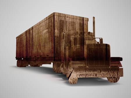 Truck truck concept with wood texture 3d rendering on gray background with shadow Stock Photo