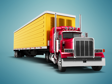 Truck red with yellow trailer 3d render on blue background with shadow 写真素材