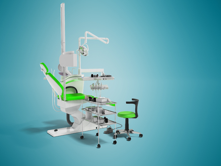 Modern dental chair with lighting with tools for drilling white with green inserts and with tools and an armchair for the dentist on the right 3d render on blue background with shadow