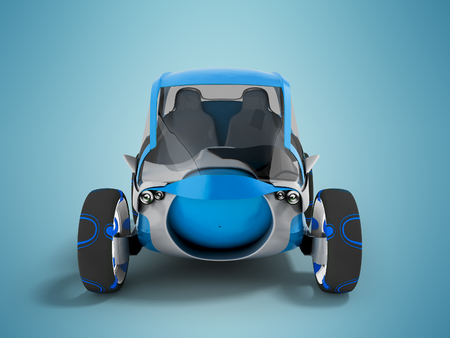 Modern electric car for travel on sidewalks blue with gray insets in front 3d render on blue background with shadow Standard-Bild