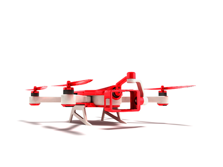 Modern red quadrupter with an insertion of an action camera 3D rendering on white background with shadow