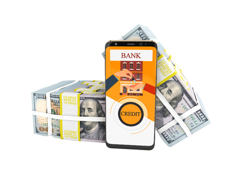 Modern concept to take loan through bank in an attachment on mobile phone 3d render on white background no shadow
