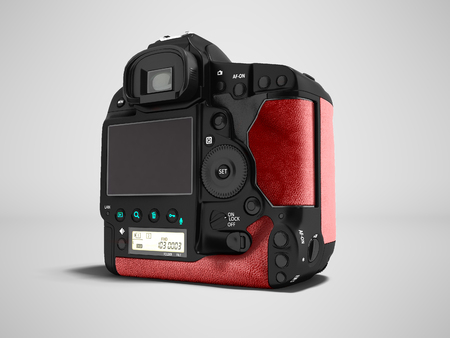 Modern professional black camera with insets of red leather behind 3d rendering on gray background with shadow