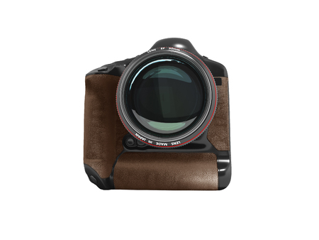 Modern professional camera for professional shooting in nature black with brown leather inserts 3D render on white background no shadow