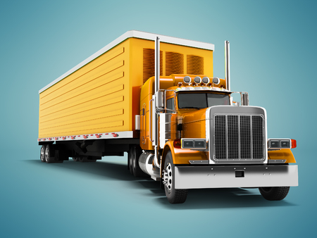 Truck orange with orange trailer 3d render on blue background with shadow
