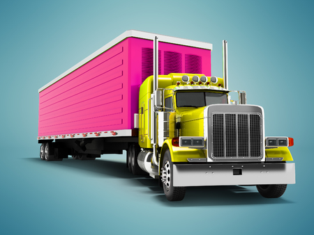 Truck yellow with purple trailer 3d render on blue background with shadow