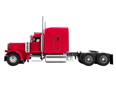 Modern truck tractor for cargo three axle without trailer red side 3d rendering on white background no shadow 写真素材