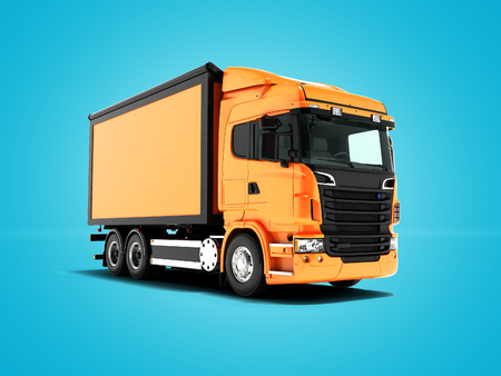 Orange truck with an orange body with black inserts for transportation of goods perspective on the left 3d render on blue background with shadow