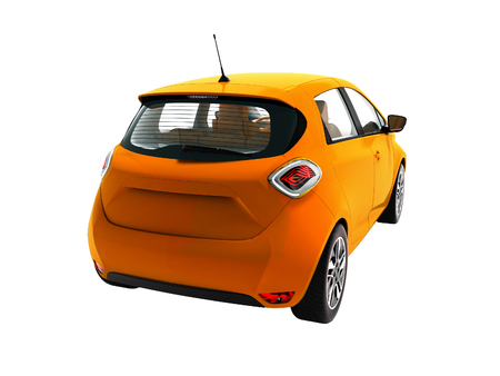 Modern electric car hatchback with brown interior for trips on the back of the rear 3d render on white background no shadow Standard-Bild