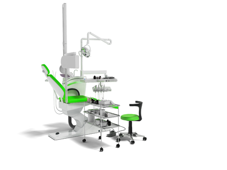 Modern dental chair with lighting with tools for drilling white with green inserts and with tools and an armchair for the dentist on the right 3d render on white background with shadow